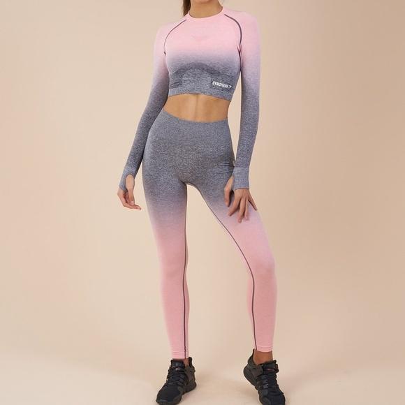 912cc5022ae3d6 Gymshark Pants | Ombre Seamless Leggings Peach Pinkcharcoal Nwt ...